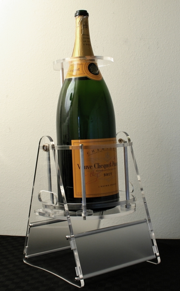 12 Liter Bottle of Veuve Cliquot Ponsardin Brut pouring bottle cradle pivot and