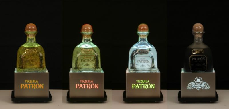 patron square bottle glorifiers stainless steel newcraft tequila pos diaplay