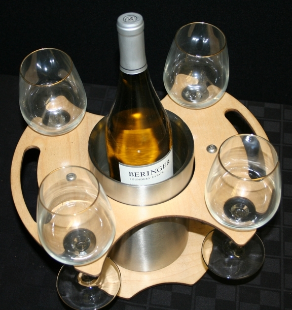 wine bottle chiller table side service tray