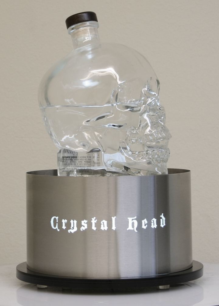 crystal head back bar glorifier led light newcraft vodka bottle service