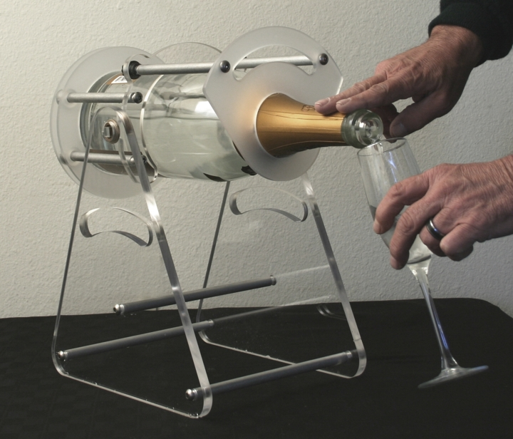 cristal 3 liter champagne bottle cradle pivot and pour newcraft