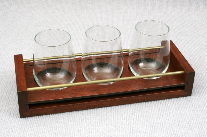 diageo rum flight tray mahogony wood