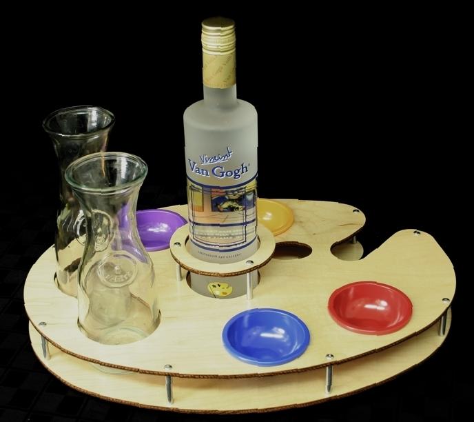 bottle specific tray van gough vodka wood
