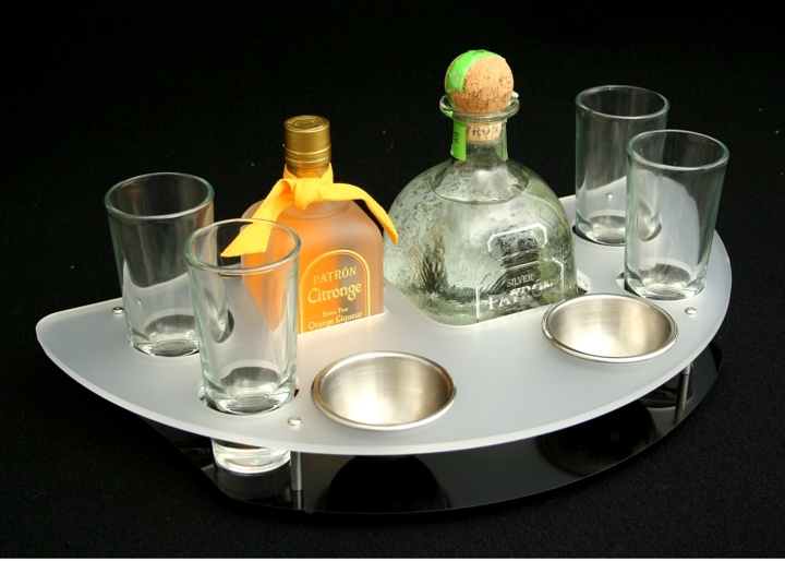patron bottle specific tray frost black acrylic