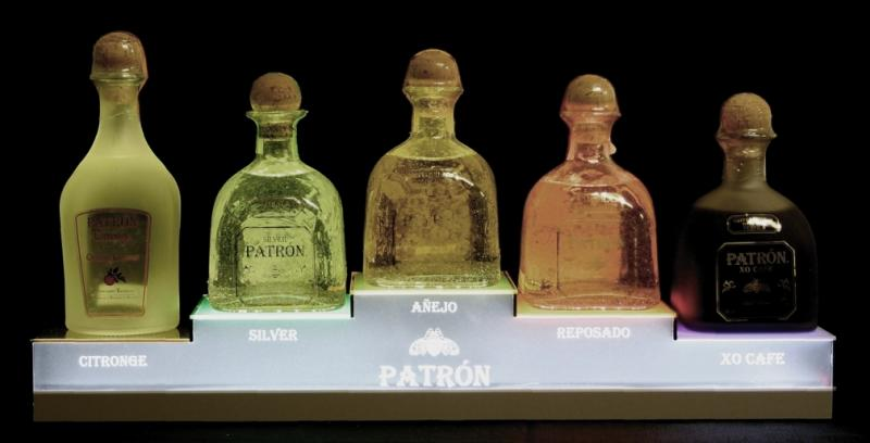 patron back bar pos display bottle glorifier led lights newcraft bottle service