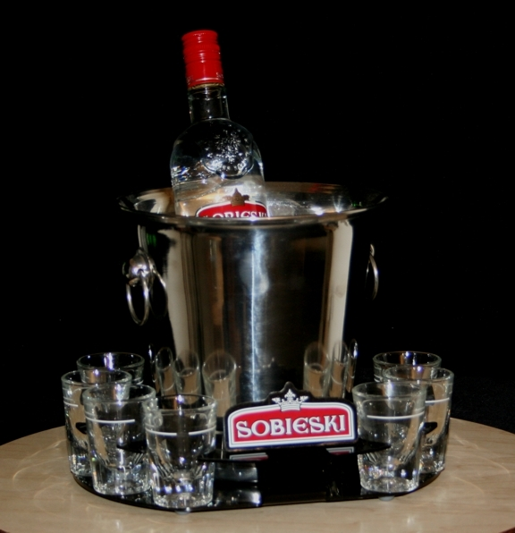 sobieski ice bucket tray shot glass round acrylic